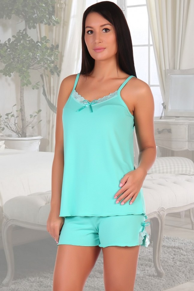 Пижама вискозная Блэр (ментоловая)Пижамы<br><br>Цвет: Зеленый; Размер RU: 42, 44, 46, 48;