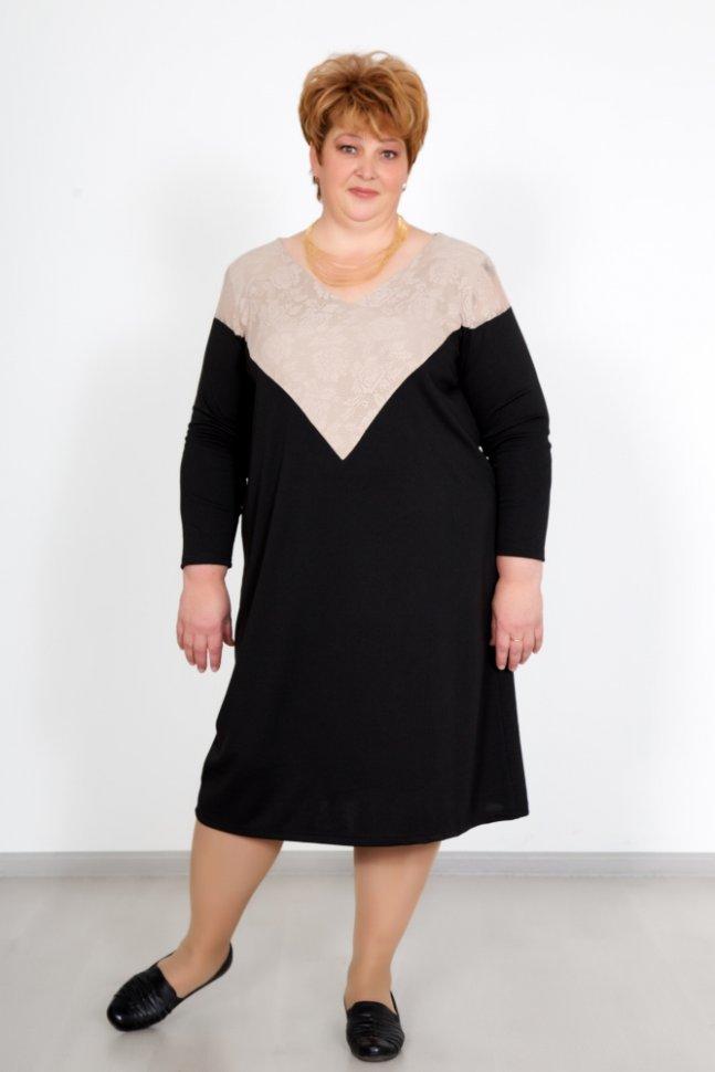 Платье трикотажное МэндиПлатья<br><br>Цвет : Черный, Бежевый; Размер : 54, 56, 58, 60, 62, 64;