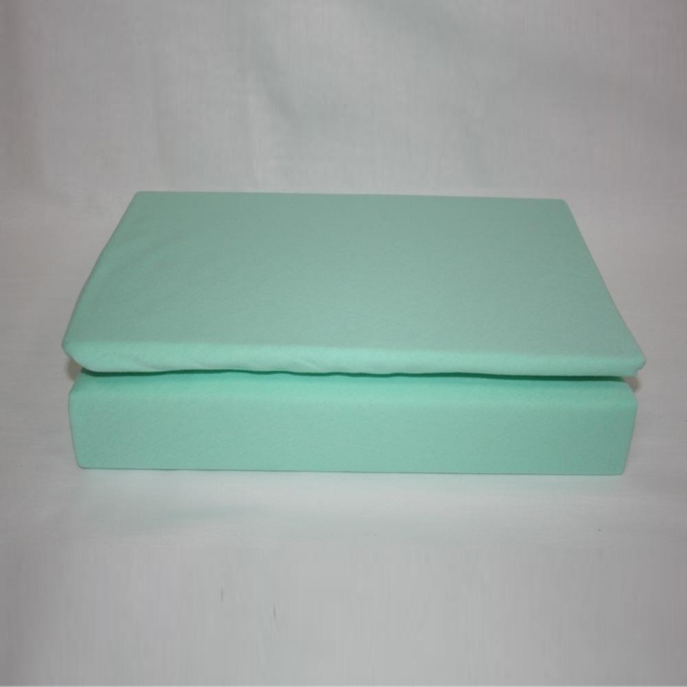 Простынь на резинке трикотажная 160x200 (мятная)