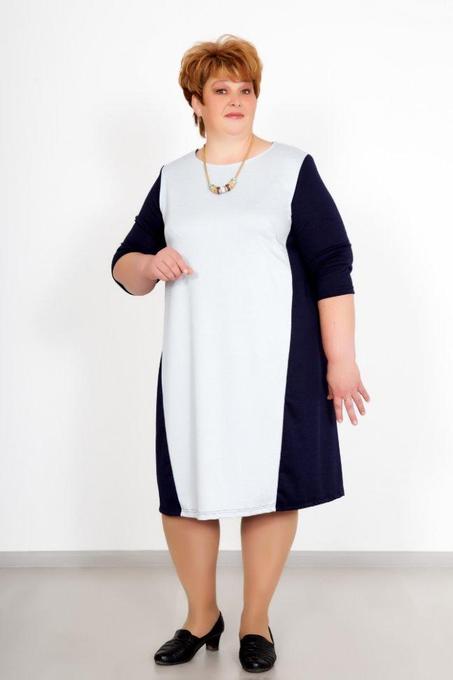 Платье трикотажное ЛизбетПлатья<br><br>Цвет: Серый, Синий; Размер RU: 52, 54, 56, 58, 60, 62, 64;