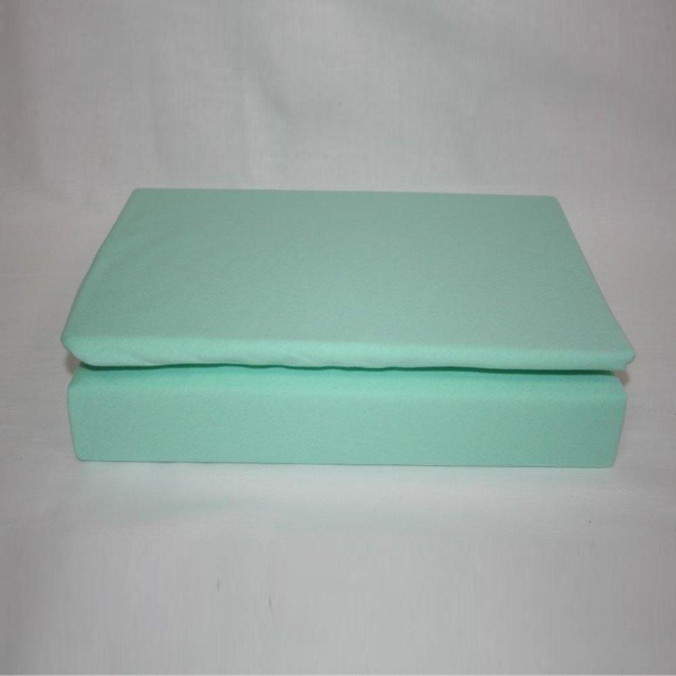 Простынь на резинке трикотажная 120x200 (мятная)Простыни на резинке<br><br>Цвет: Зеленый;