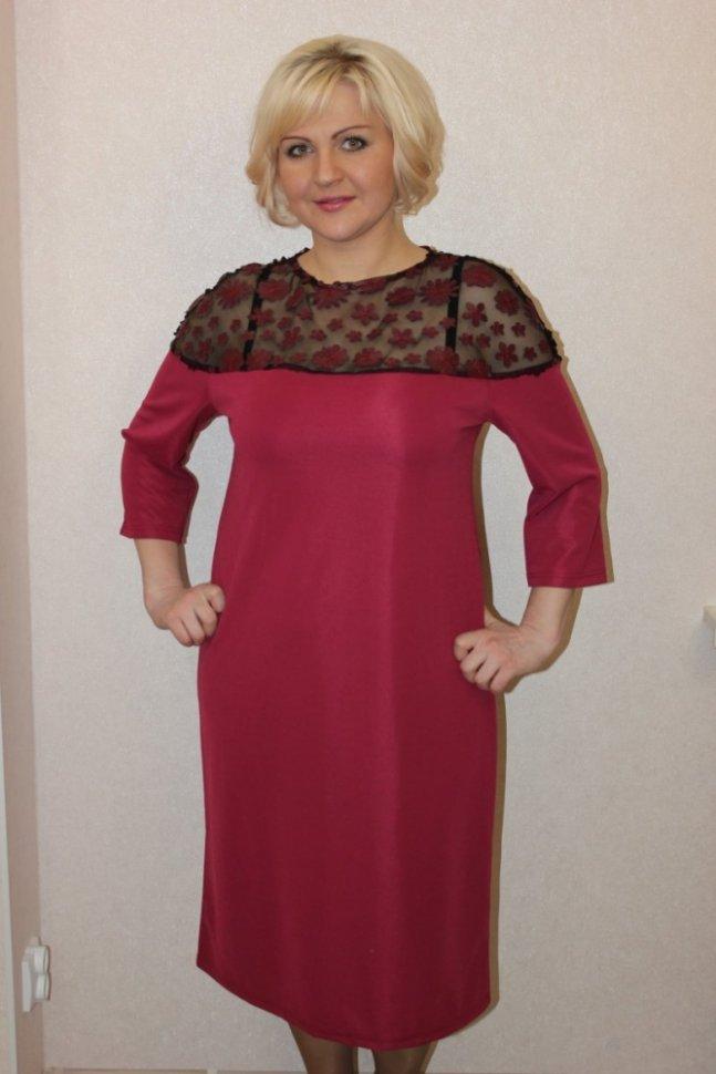Платье трикотажное Онеида (красное)Платья<br><br>Цвет: Красный; Размер RU: 48, 50, 52, 54, 56, 58;