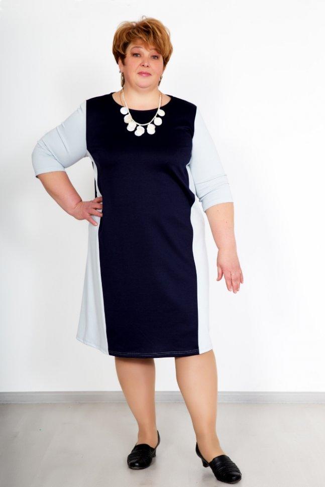 Платье трикотажное Лизбет (синее)Платья<br><br>Цвет: Синий; Размер RU: 52, 54, 56, 58, 60, 62;