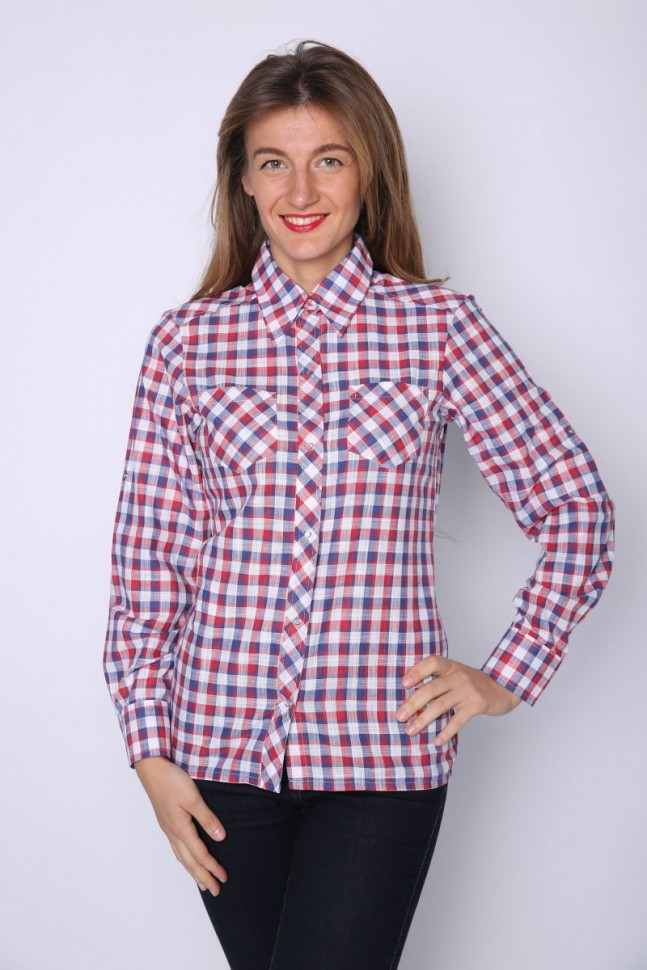 Рубашка трикотажная ДайнаБлузки и рубашки<br><br>Цвет: Красный, Синий; Размер RU: 42, 44, 46, 48, 50, 52, 54;