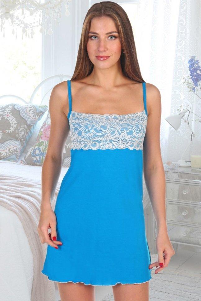 Ночная сорочка Градиент (бирюзовая)Ночные сорочки<br><br>Цвет: Голубой; Размер RU: 42, 44, 46, 48, 50, 52;