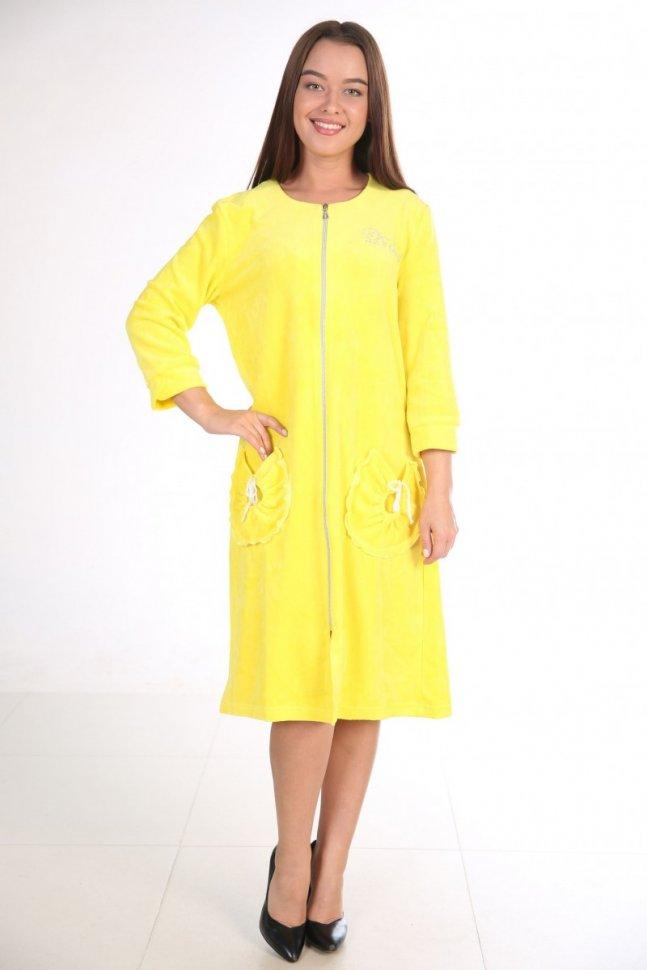 Халат велюровый Келли (желтый)Халаты<br><br>Цвет: Желтый; Размер RU: 46, 48, 50, 52, 54, 56, 58, 60;