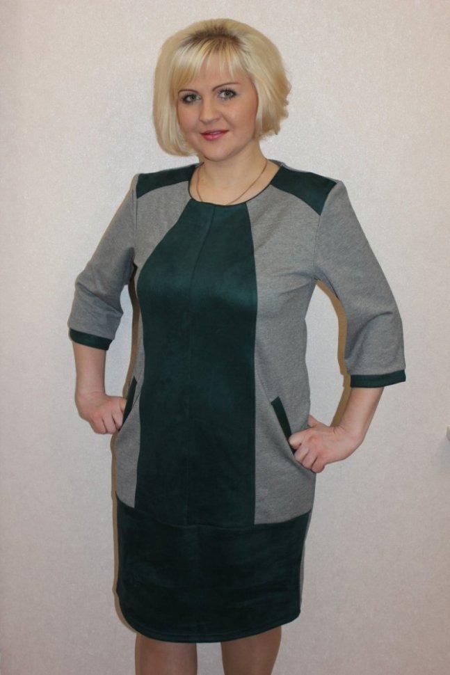 Платье трикотажное Данилла (зеленое)