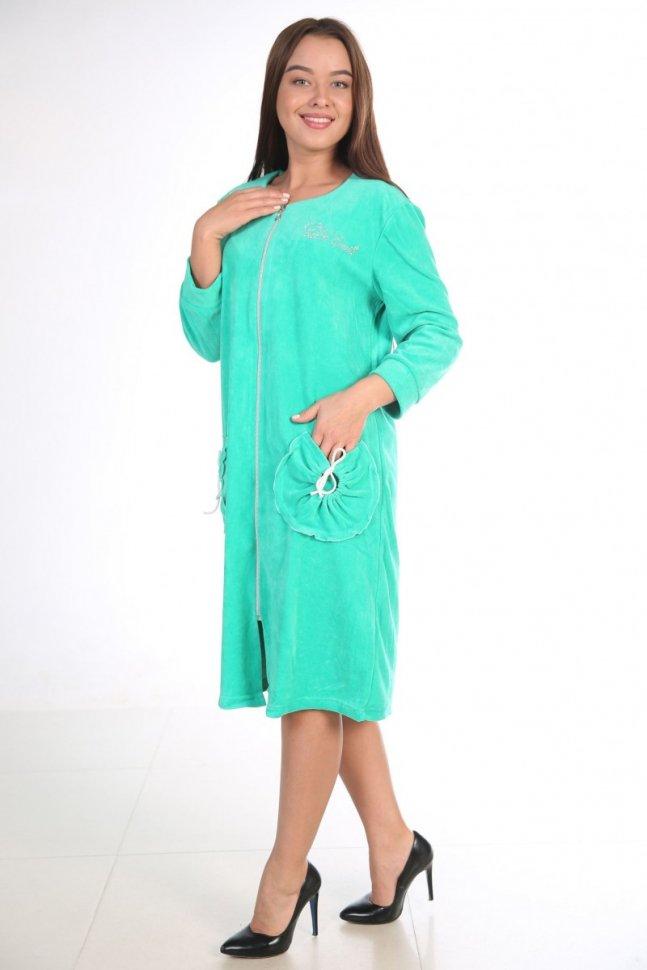 Халат велюровый Келли (зеленый)Халаты<br><br>Цвет: Зеленый; Размер RU: 46, 48, 50, 52, 54, 56, 58, 60;