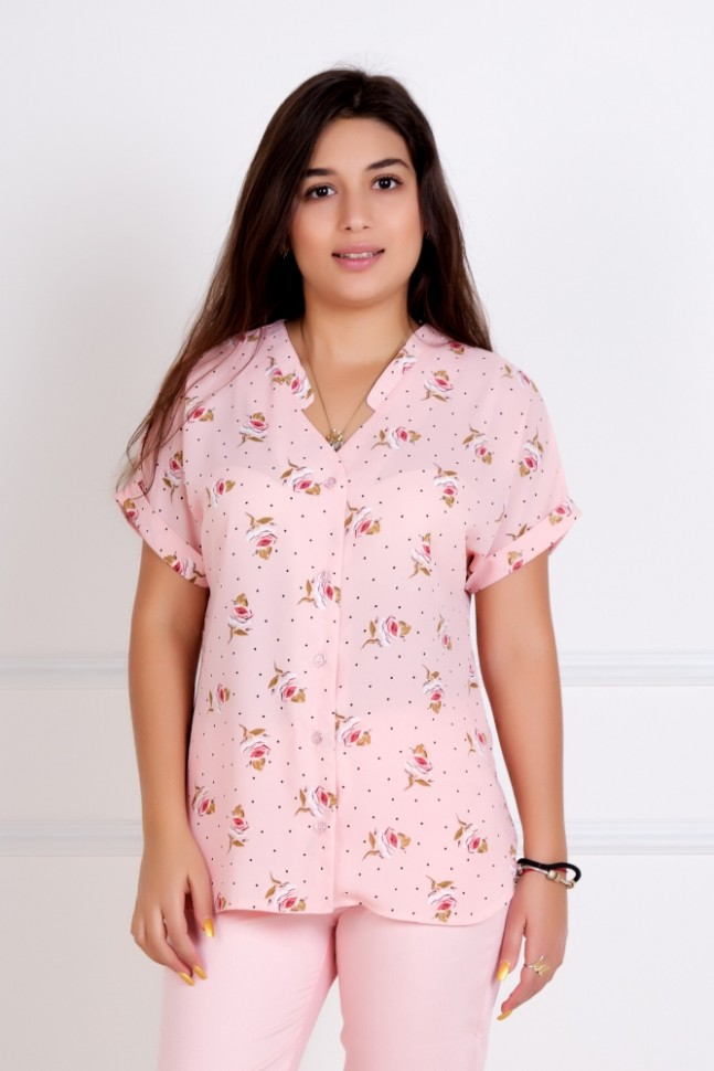 Блуза трикотажная Илона (розовая)Блузки и рубашки<br><br>Цвет: Розовый; Размер RU: 44, 46, 48, 50, 52, 54;