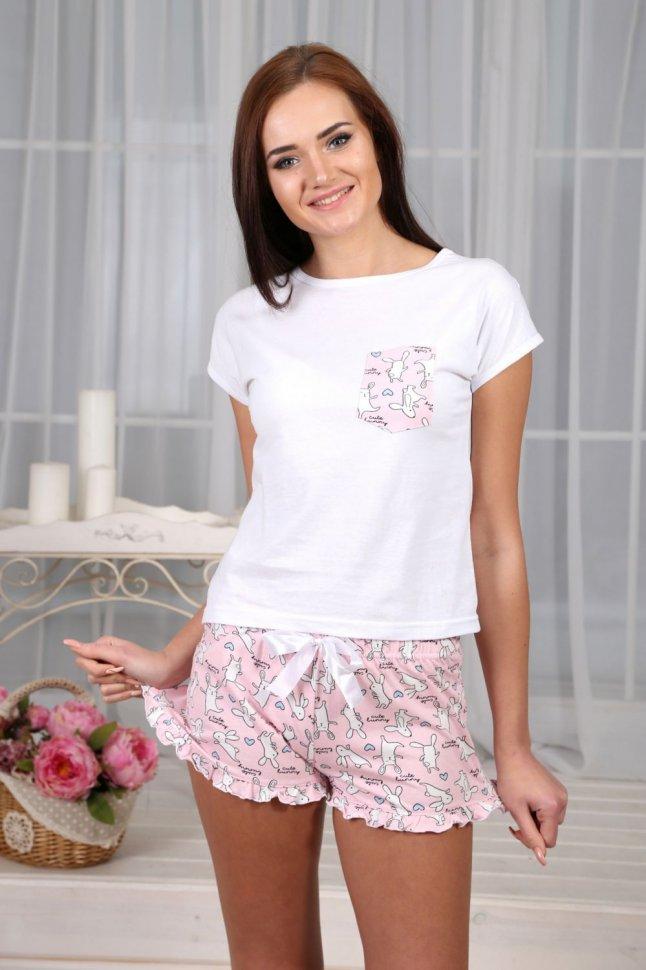 Пижама трикотажная Лилия (светло-розовая)