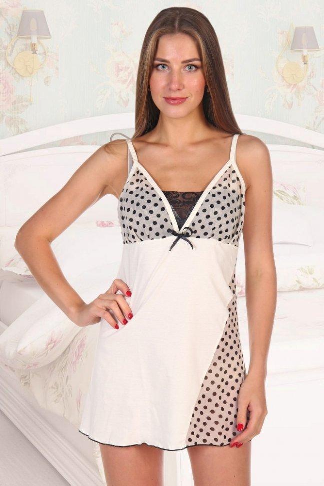 Ночная сорочка Трейси (молочная)Ночные сорочки<br><br>Цвет: Бежевый; Размер RU: 42, 44, 46, 48, 50, 52;