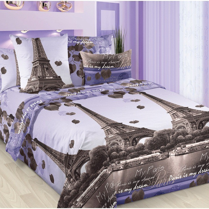 Простыня из бязи 1,5-спальная Романтика Парижа