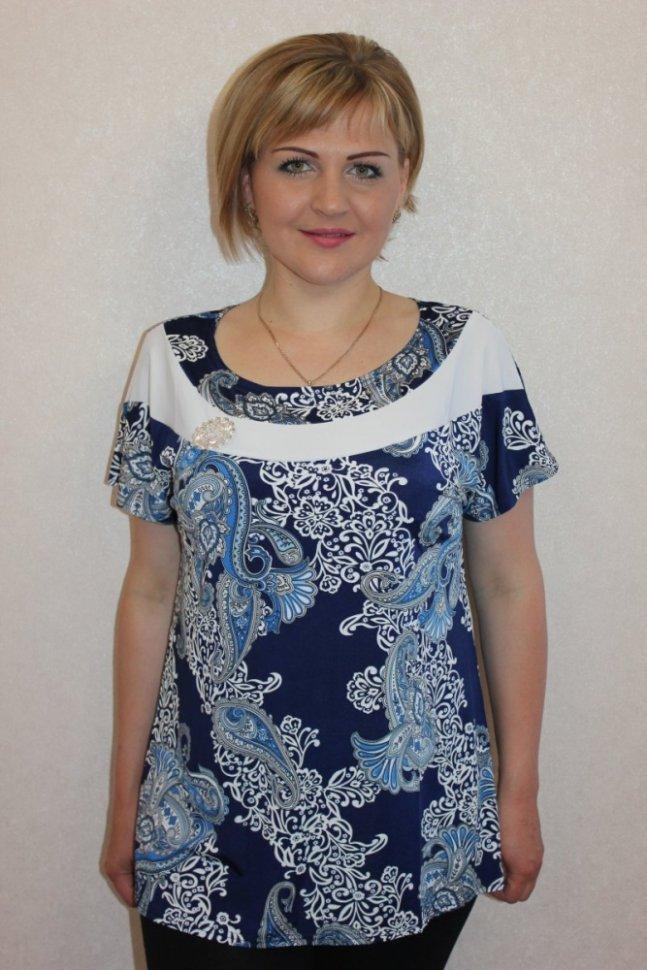 Блуза трикотажная ОрнеллаБлузки и рубашки<br><br>Цвет: Белый, Синий; Размер RU: 50, 52, 54, 56, 58, 60;