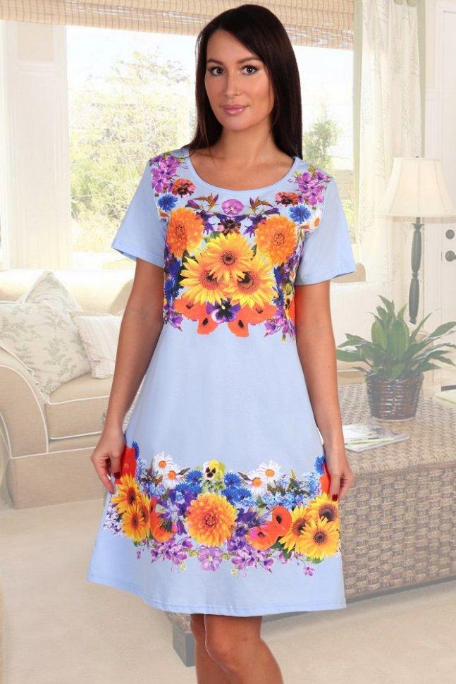 Ночная сорочка Идиллия (голубая)Ночные сорочки<br><br>Цвет: Голубой, Оранжевый; Размер RU: 46, 48, 50, 52, 54, 56, 58, 60;