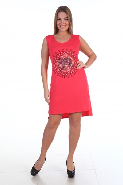 Сарафан трикотажный Рэйчел (коралловый)Сарафаны<br><br>Цвет: Красный; Размер RU: 44, 46, 48, 50, 52, 54;