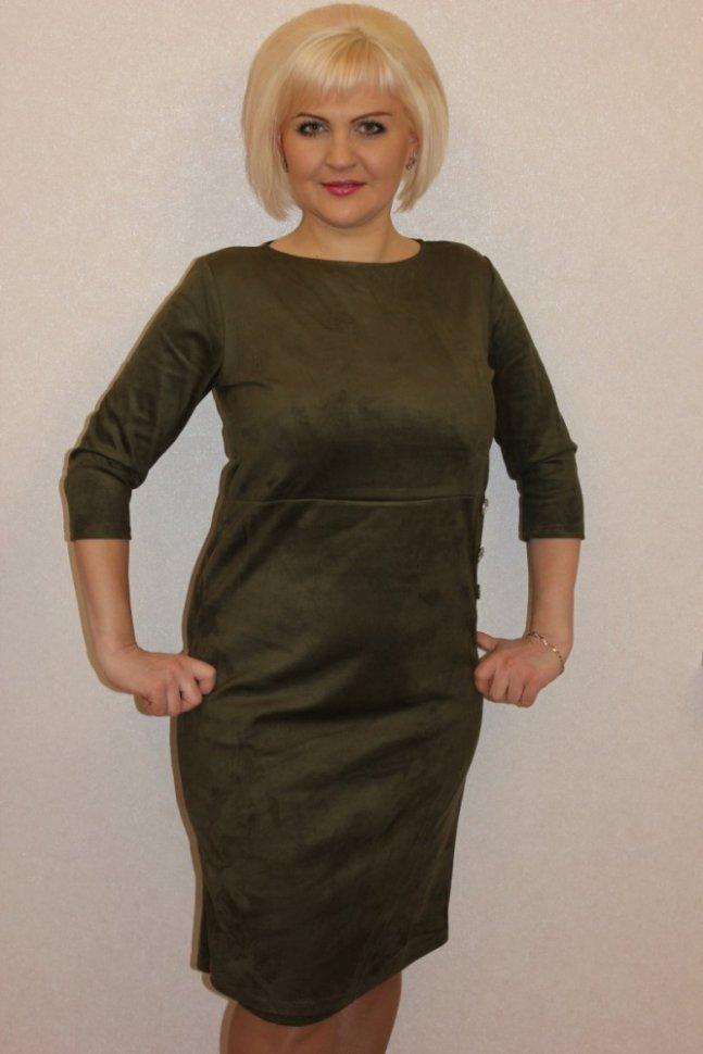 Платье трикотажное Хезер (серо-зеленое)Платья<br><br>Цвет: Зеленый; Размер RU: 46, 48, 50, 52, 54, 56;