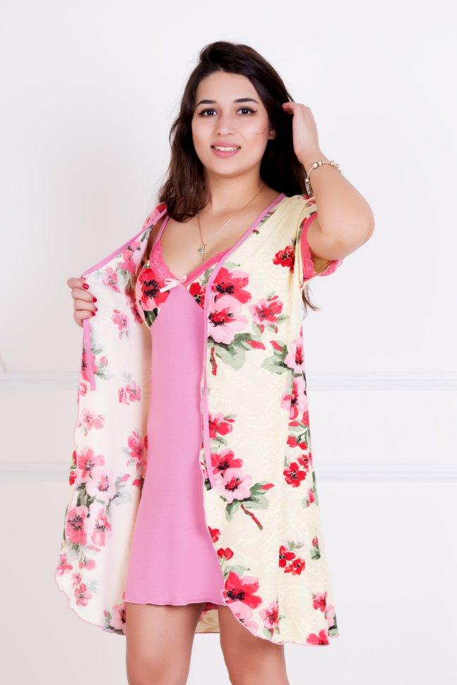 Комплект трикотажный ИскушениеНочные сорочки<br><br>Цвет : Розовый, Бежевый; Размер : 42, 44, 46, 48, 50, 52;