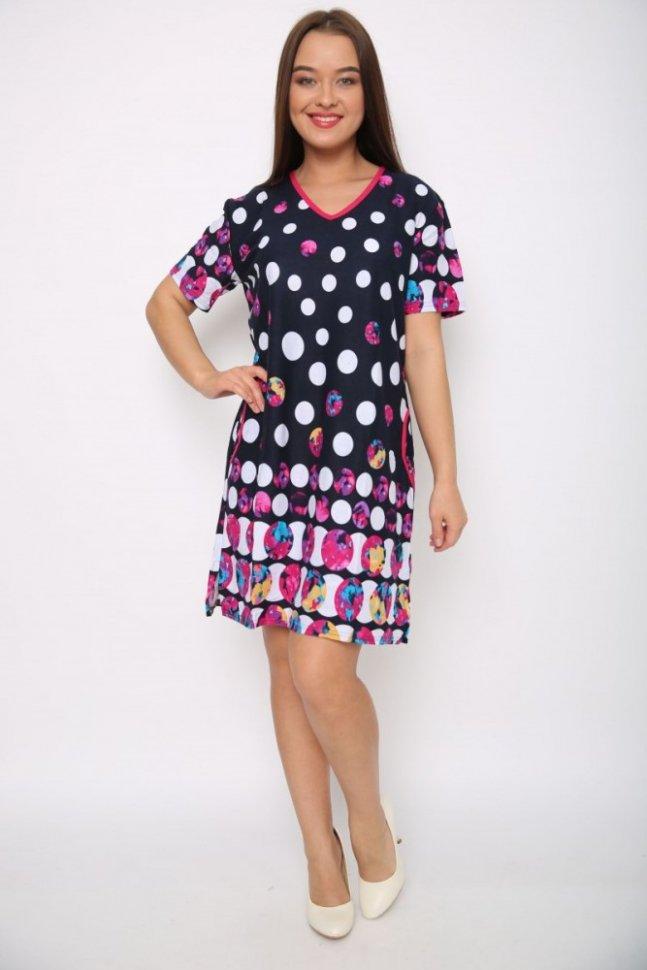 Туника-платье Гениста (горох)Туники<br><br>Цвет: Розовый, Синий; Размер RU: 44, 46, 48, 50, 52, 54, 56, 58, 60, 62;