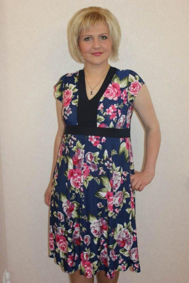 Платье трикотажное ЛораПлатья<br><br>Цвет: Розовый, Синий; Размер RU: 46, 48, 50, 52, 54, 56, 58, 60, 62;