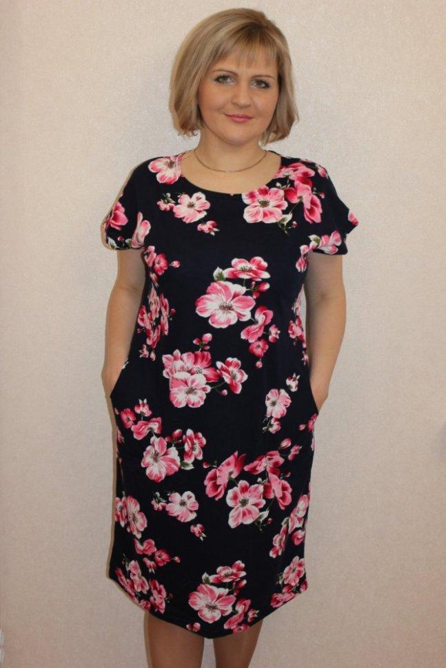 Платье трикотажное Ренита (цветы)Платья<br><br>Цвет: Розовый, Синий; Размер RU: 48, 50, 52, 54, 56, 58, 60, 62;