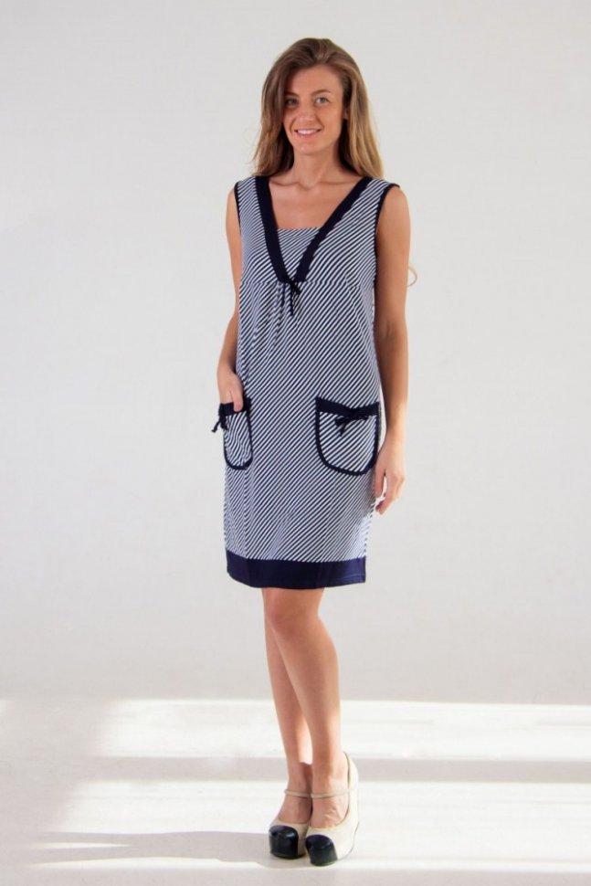 Платье трикотажное Обри (полоска)Платья<br><br>Цвет: Белый, Синий; Размер RU: 46, 48, 50, 52, 54, 56, 58, 60;