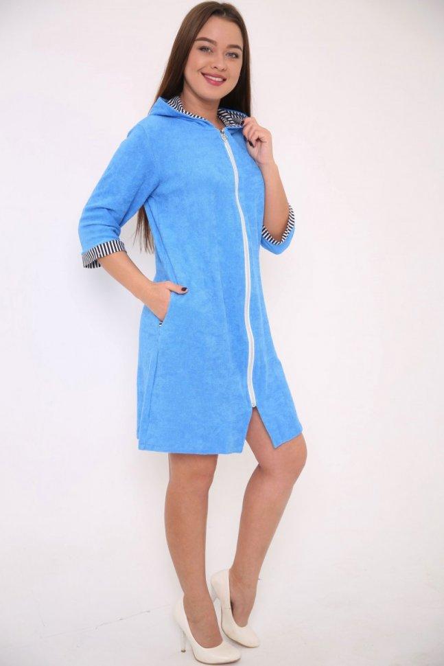 Халат махровый Лилия (голубой)Халаты<br><br>Цвет: Голубой; Размер RU: 44, 46, 48, 50, 52, 54;