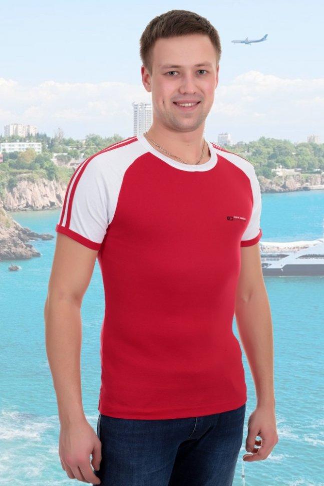 Футболка мужская Лидер (красная)Футболки<br><br>Цвет: Белый, Красный; Размер RU: 46, 48, 50, 52, 54;