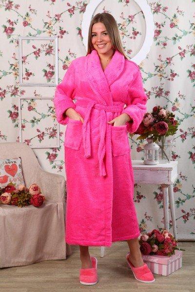 Халат из велсофта Кассия (малиновый)Халаты<br><br>Цвет: Розовый; Размер RU: 46, 48, 50, 52, 54, 56, 58, 60;