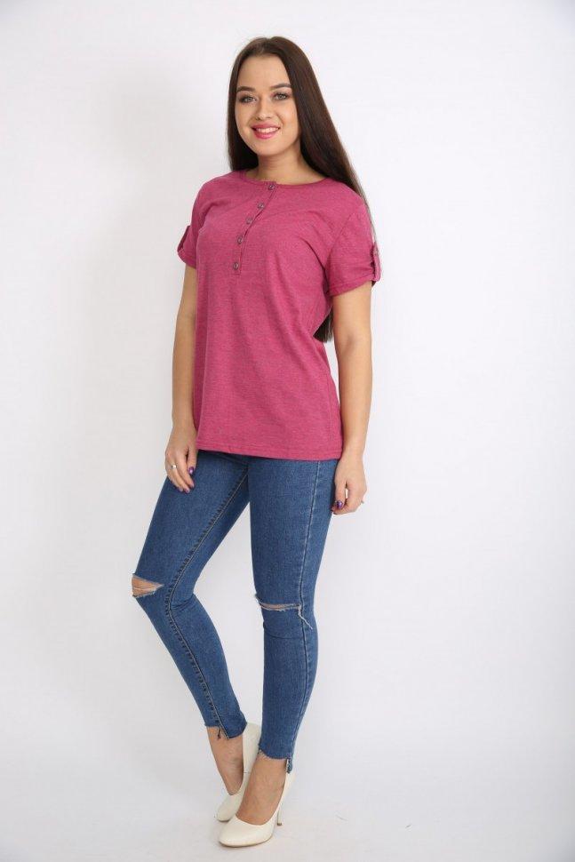Блуза трикотажная Нола (малиновая)Блузки и рубашки<br><br>Цвет: Розовый; Размер RU: 46, 48, 50, 52, 54, 56;