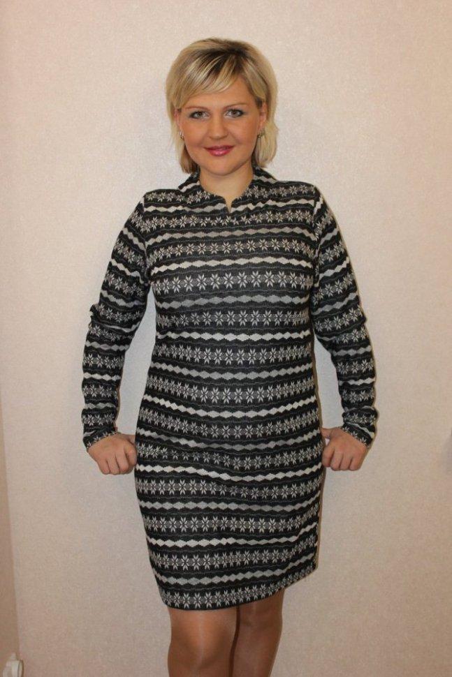 Платье трикотажное Астрид (черное)Платья<br><br>Цвет: Серый, Черный; Размер RU: 48, 50, 52, 54, 56;