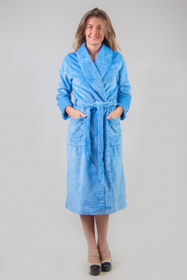 Халат велсофт Ниджелла (голубой)Халаты<br><br>Цвет: Голубой; Размер RU: 44, 46, 48, 50, 52, 54, 56, 58, 60, 62;