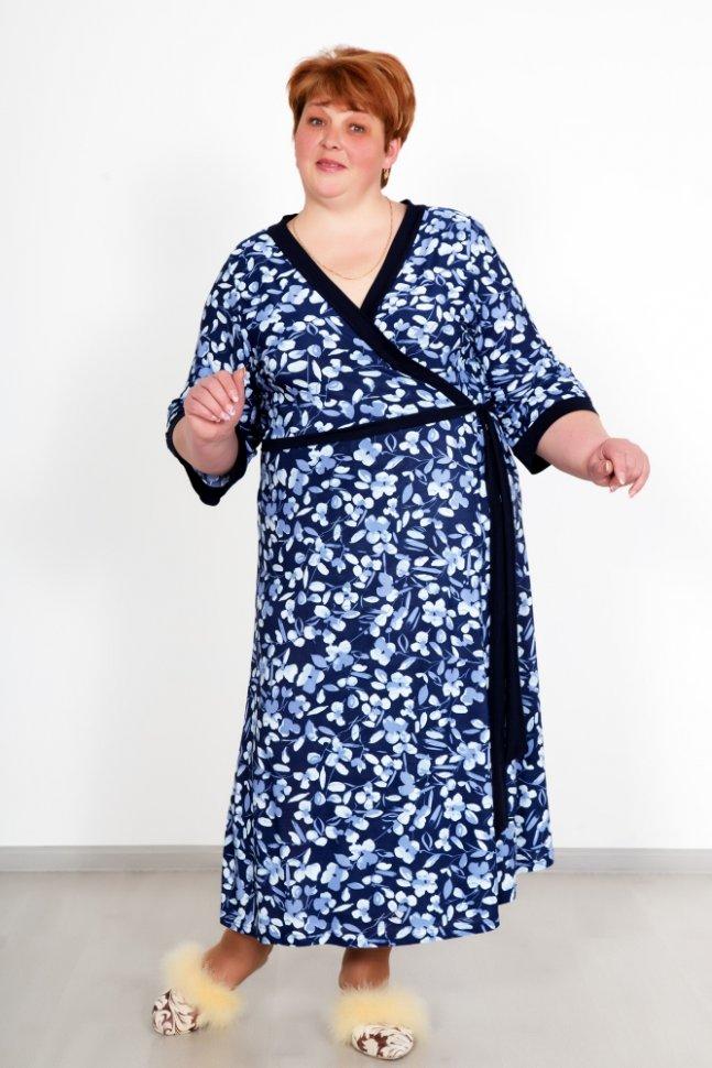 Халат трикотажный Габриэлла (синий)Халаты<br><br>Цвет: Синий; Размер RU: 52, 54, 56, 58, 60, 62;