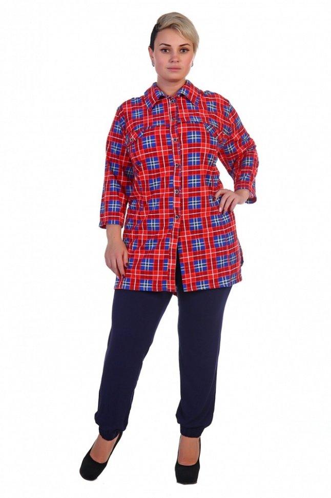 Рубашка трикотажная Мэри (красная)Блузки и рубашки<br><br>Цвет: Красный, Синий; Размер RU: 62, 64, 66, 68, 70, 72;