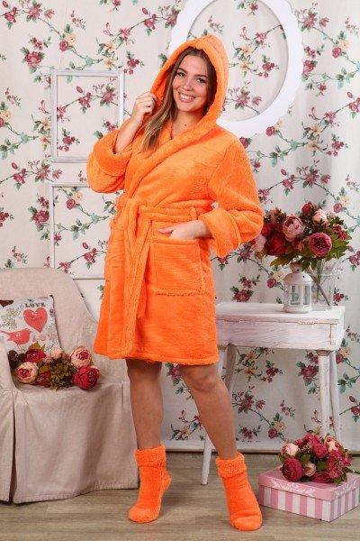 Халат из велсофта Агнес (оранжевый)Халаты<br><br>Цвет: Оранжевый; Размер RU: 42, 44, 46, 48, 50, 52;