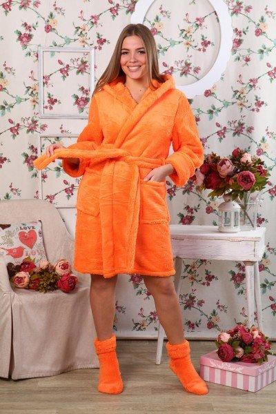 Халат из велсофта Агнес (оранжевый)